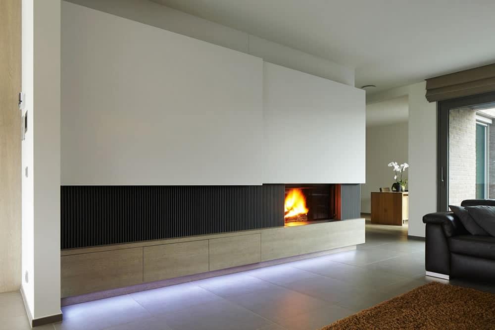 Kalfire inbouwhaarden op hout - Afbeelding eigentijdse woonkamer ...